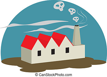 Polluting Factory - Illustration of a polluting factory