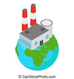 Polluting industry icon. Isometric illustration of polluting industry icon for web