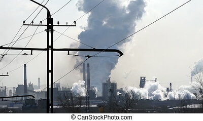 Pollution Air ,industry, Metallurgy, industrial Enterprise on a Background of the City, time Lapse