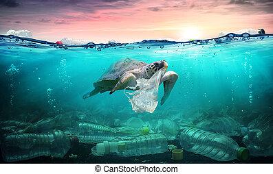 pollution, -, ambiant, problème, tortue, sac, océan, plastique, manger