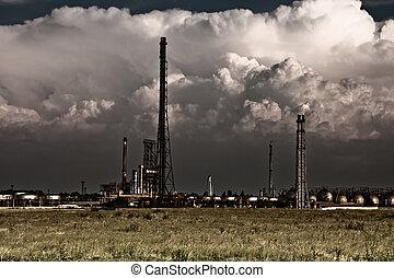 pollution, begrepp, -, industriell, giftig, raffinaderi