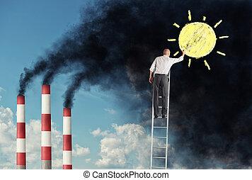 pollution, changement, smog, dessin, soleil, escalier, homme affaires, vouloir, sur
