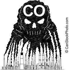pollution, co, vecteur, humain, air, dessin, créer, fumée, illustration artistique, concept, crâne, cheminées