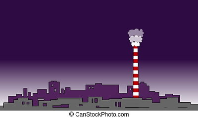 Pollution concept full hd.Chimney,smog and factory in background