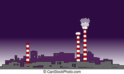Pollution concept full hd.Chimneys,smog and factory in...