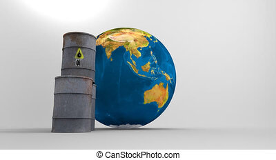 Pollution concept. Save the planet. - Barrels of oil near...