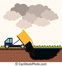 Pollution design over white background, vector illustration