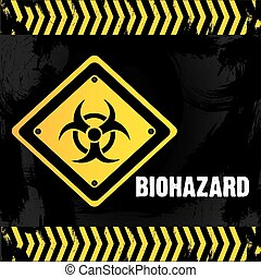 Pollution design over black and yellow background, vector illustration.