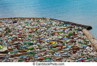 pollution, eau lac, sacs, plastique