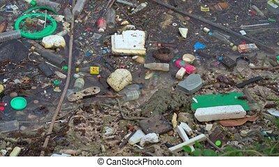 pollution eau, plastique, vide, bouteilles