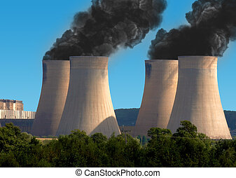 Black smoke pollution from industrial chimneys