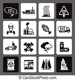 Pollution Icons Black Set