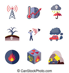 Pollution icons set flat