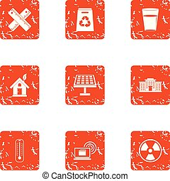 Pollution icons set, grunge style