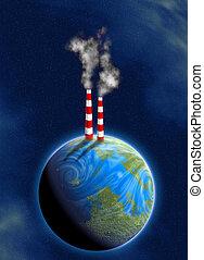 pollution - illustration of industrial chimneys on earth...