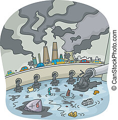 Pollution - Illustration of Water and Air Pollution