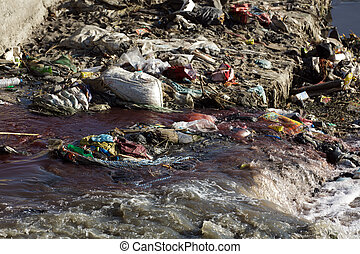 pollution in the river of kathmandu, nepal