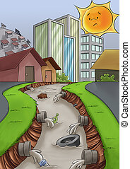 pollution in the city - city without a drain care, a river...