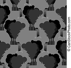 Pollution of environment seamless pattern. Plants background. Factory and Smoke and Pipe