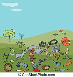 Pollution of the environment. Garbage and waste