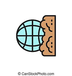 Vector pollution of the planet, globe garbage flat color line icon. Symbol and sign illustration design. Isolated on white background