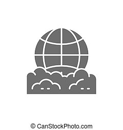 Vector pollution of the planet, globe garbage gray icon. Symbol and sign illustration design. Isolated on white background