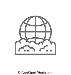 Vector pollution of the planet, globe garbage line icon. Symbol and sign illustration design. Isolated on white background