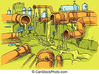 A cluster of cartoon pipes in an industrial area oozing polluted slime sewage into a concrete canal.