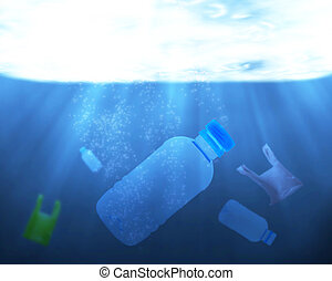 Pollution Problem Concept - Pollution problem in the water...