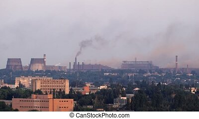 Pollution, Smoke From An Industrial Chimney, Above A Town