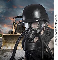 pollution.environmental, disaster., poste, apocalíptico, sobrevivente, em, máscara gás