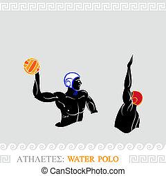 polo água, atleta, jogadores