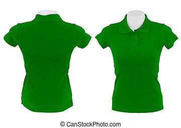 polo, bianco, camicia verde, fondo
