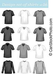 polo, bianco, uomini, nero, camicie