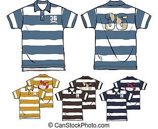 polo, garçon, rayé, chemises