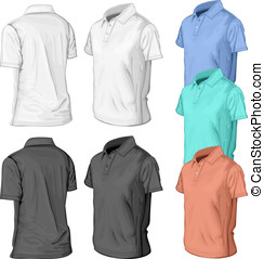 polo-half-turned-color - Men's short sleeve polo-shirt...