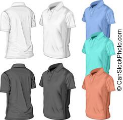 polo-half-turned-color - Men's short sleeve polo-shirt...