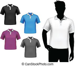 polo, maschio, set, t-shirts
