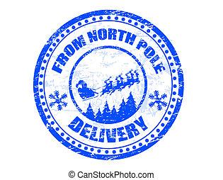 polo norte, entrega, estampilla
