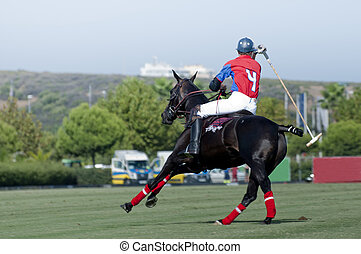 Polo Number  - A Polo pony and Rider (No.4) on the turn