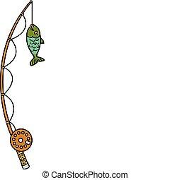 polo pesca, e, bobina, con, fish