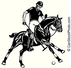 polo player on black horse - polo player riding a pony horse...