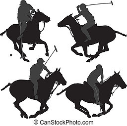 Polo Player Silhouette on white background