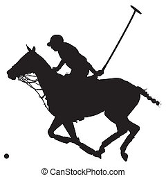 Polo Pony Silhouette - Black silhouette of a polo player and...