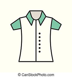polo shirt, filled color outline editable stroke