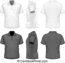 polo-shirt, homens, modelo, desenho