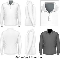 polo-shirt, kabátujj, bábu, hosszú, tervezés, sablon