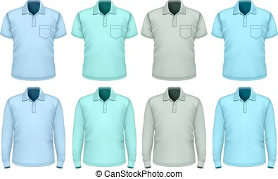 polo-shirt., mannen, schaduwen, blue.