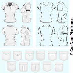 polo-shirt, modelos, mulheres, desenho