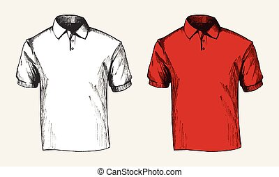 Polo Shirt - Sketch illustration of a white and red polo...